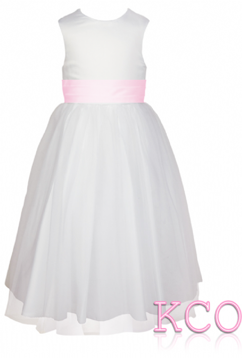 Style FJD922~ Pleat Sash Dress White/Pink